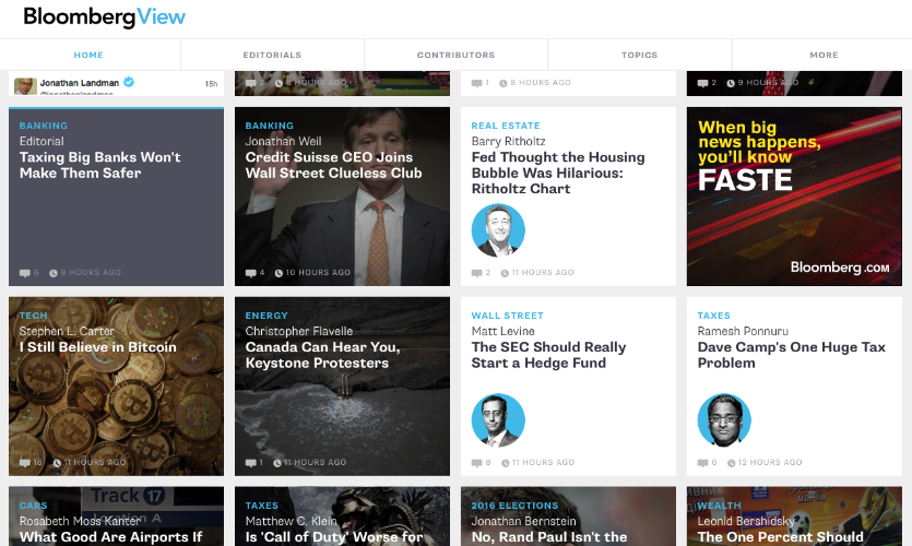 The Bloomberg View website is designed to feel as dynamic and lightweight as an app, with an interface that lets users get right to the content.