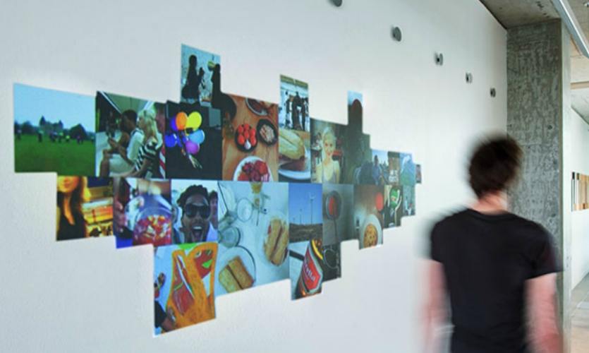 Sam Stubblefield, who leads NBBJ's experience design studio, created fluidWall as a way to strengthen inter-office connections. When you walk past the wall carrying an RFID access card, it retrieves photos that you personally curated.