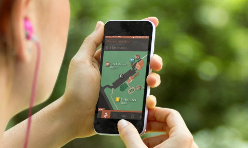 W&Co. specializes in development of mobile wayfinding apps, like this one for Mercer Meadows, a park in Lawrence Township, N.J.