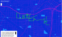 """Routekast, also for Big Boi of Outkast, maps the GPS traces of 40 cyclists from a bike ride on July 6, 2014, spelling the name """"Outkast"""" in downtown Atlanta."""