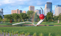Walker Sculpture Garden [Photo credit: Gift of Frederick R. Weisman in honor of his parents, William and Mary Weisman, 1988 © Claes Oldenburg and Coosje van Bruggen; Photo by Mike Krivit Photography, Courtesy of Meet Minneapolis]